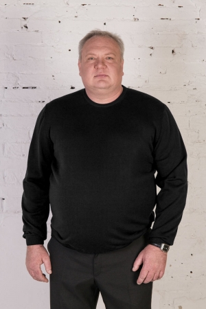 Джемпер черный вязаный, О-образный вырез, арт.3254/1