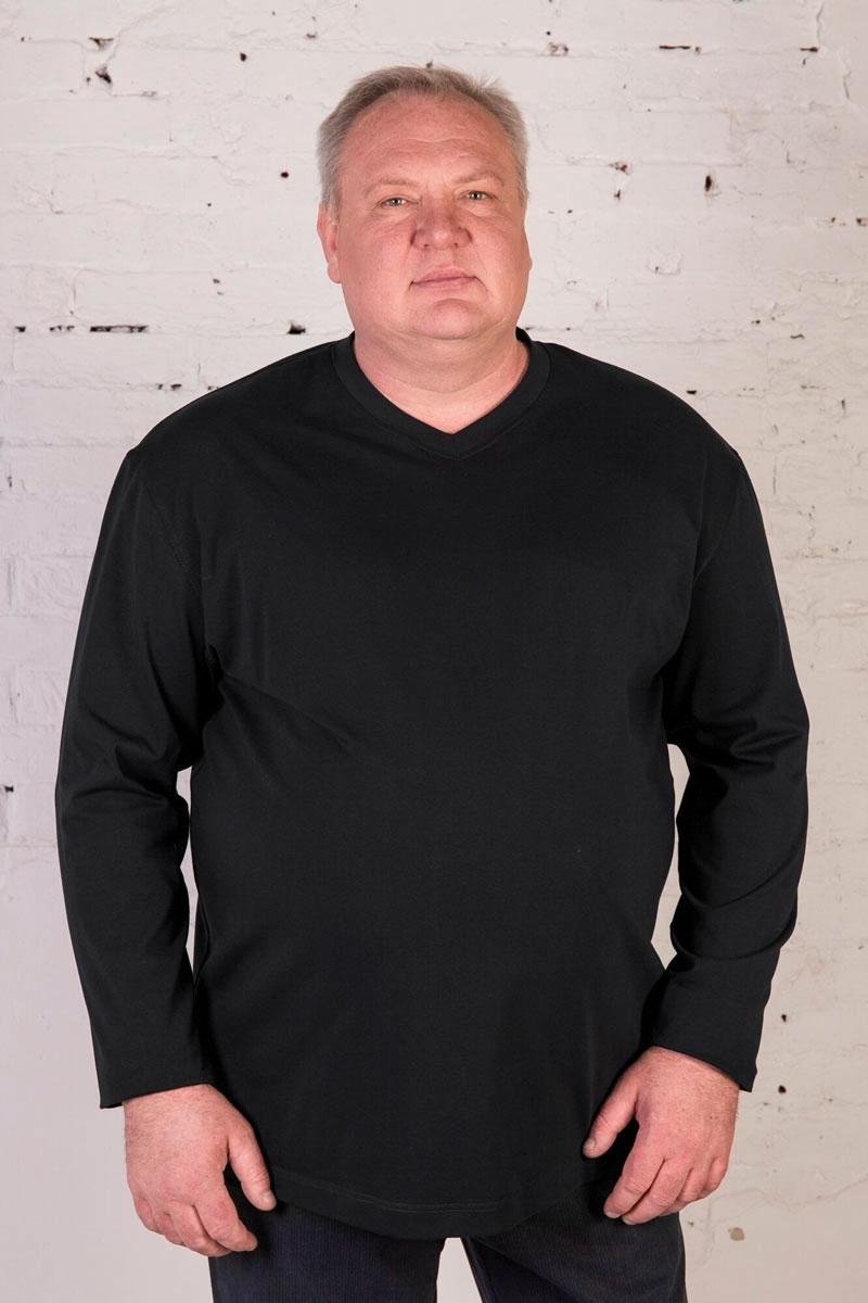 Футболка черная с длинными рукавами, V-образный вырез, арт.40141/1
