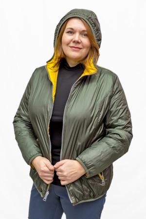 Куртка  двухсторонняя,« золото/т.зелень»