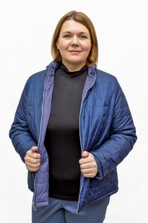 Куртка  двухсторонняя, « синяя в горох/ т.синяя»