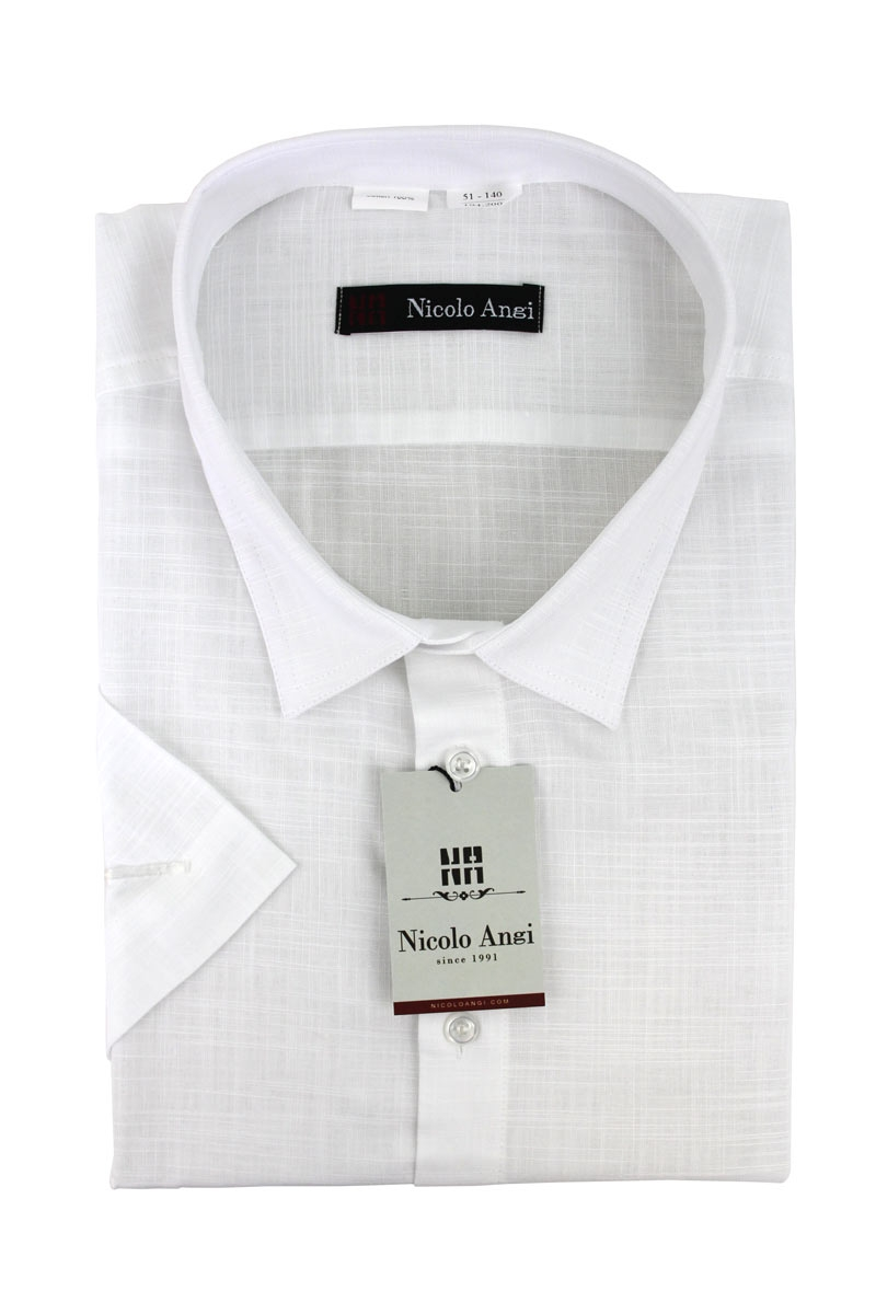 Сорочка мужская с короткими рукавами, арт.55Б-5501 белый лен