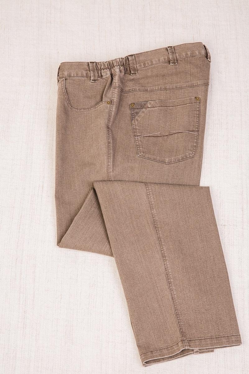 Джинсы боковая резинка, бежевого цвета, арт.9118