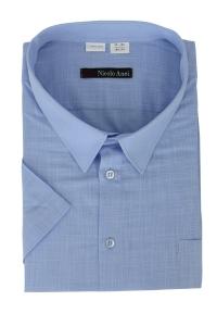 Сорочка мужская с коротким  рукавом 55Б2  голубой лен