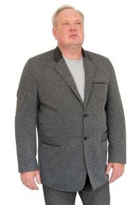 Пиджак  трикотажный с кожан. отделкой